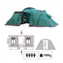 Кемпинговая двух-комнатная 4-х местная палатка TRAMP Brest 4